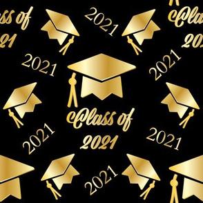 "8"" Gold Grad Cap Class of 2021 Pattern"
