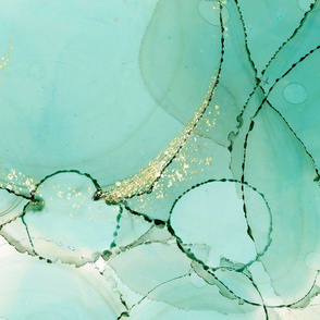 Mint Green WatercolorAbstract  Alcohol Ink