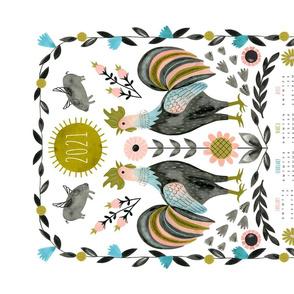 Folk Roosters 2021 Calendar Tea Towel
