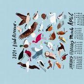 An Alphabet of Birds 2021 Calendar Tea Towel in sky blue