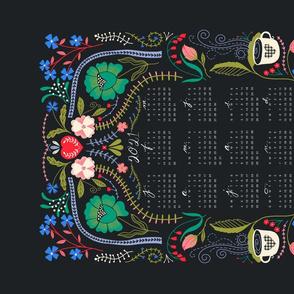 Folk Floral 2021 Calendar Tea Towel