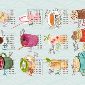 2021 Calendar Specialty Drinks Tea Towel 150dpi