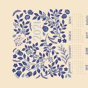 2021 Calendar Indigo Vines Tea Towel