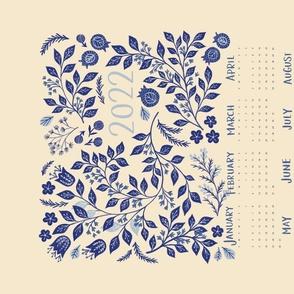 2022 Calendar Indigo Vines Tea Towel