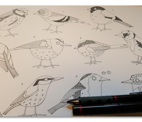winter garden birds olive tea towel