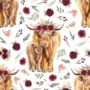 maroon floral highland cow