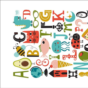 ABC's - Illustrated Alphabet Tea Towel