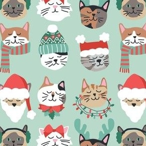 Christmas Kitty Cat Faces on Green