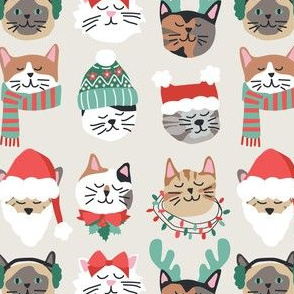 Christmas Kitty Cat Faces on White