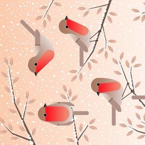 robins in winter tea towel