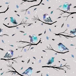 Winter birds branches Blue Gray