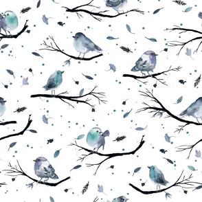 Winter birds branches Blue white