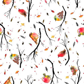 Bird branches Autumn Tea towel