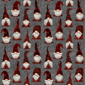Red Buffalo Plaid Gnomes on Grey linen - extra extra small scale