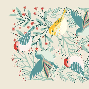 Backyard Winter Birds Tea Towel Garabateo