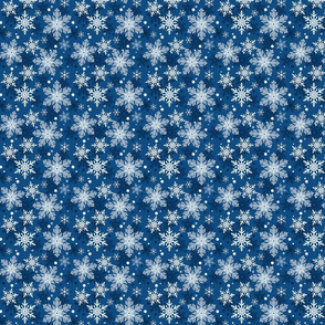 Classic Blue Snowflake Pattern Winter - small scale