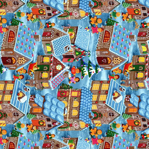 Christmas Eve in the Gingerbread Village Tea Towel