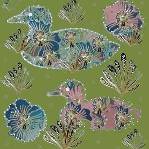 Art Nouveau Paper Cut Collage Ducks On Sage Green