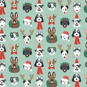 Christmas Puppies on Green mini