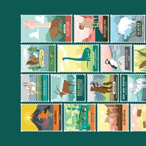 Vintage Travel Stamps Tea Towel