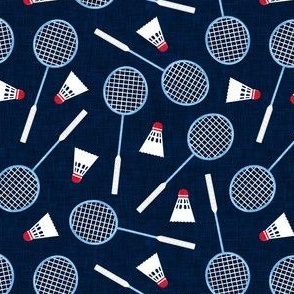 Badminton Rackets and birdies - shuttlecock & racquets - yard games birdie - blue on navy - LAD20