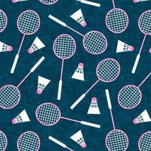 Badminton Rackets and birdies - shuttlecock & racquets - yard games birdie - pink on blue - LAD20