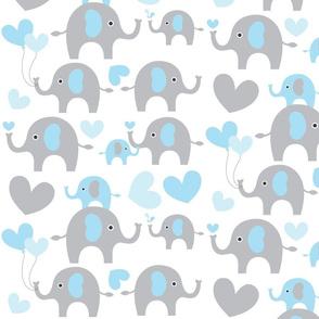 Blue and grey elephants/ hearts