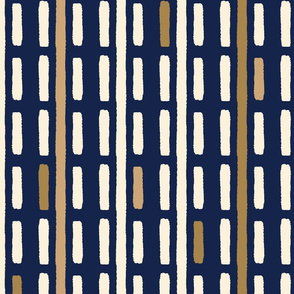 Gold bohemian luxury hand drawn line.  Stripe navy blue abstract pattern.