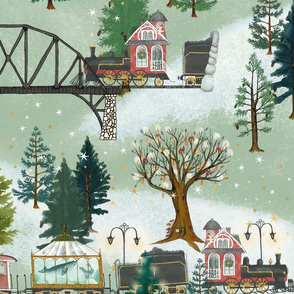 Large Red Christmas Train Magical Express, green, star, mountains, snow, winter, woodland, railroad, baby, kids, home decor, christmas tree