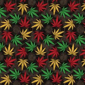 ★ RASTA WEED - AFRICAN BATIK ★ Red + Yellow + Green on Dark Brown - Small scale / Collection : Cannabis Factory 1 – Marijuana, Ganja, Pot, Hemp and other weeds prints