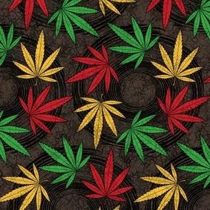 ★ RASTA WEED - AFRICAN BATIK ★ Red + Yellow + Green on Dark Brown - Large scale / Collection : Cannabis Factory 1 – Marijuana, Ganja, Pot, Hemp and other weeds prints