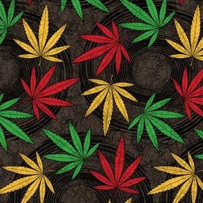 ★ RASTA WEED - AFRICAN BATIK ★ Red + Yellow + Green on Dark Brown - Very Large scale / Collection : Cannabis Factory 1 – Marijuana, Ganja, Pot, Hemp and other weeds prints