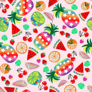 rainbow fruits pineapple-pink