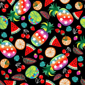 rainbow fruits pineapple-black