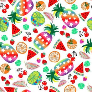 rainbow fruits pineapple-white