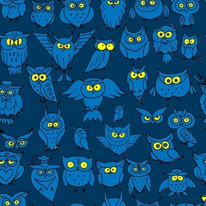Funny Owls. Colorful Pattern. Childish Style