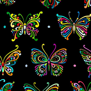 Butterflies ornamental, Home decor. Colorful on Black