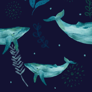 Whale Dark Floral Watercolor