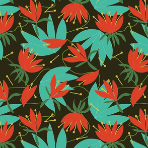 Tropic Whimsy_coral teal dark