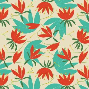 Tropic Whimsy_coral teal light