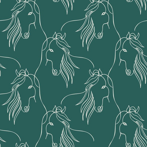 Horse Continuous Line Art Green