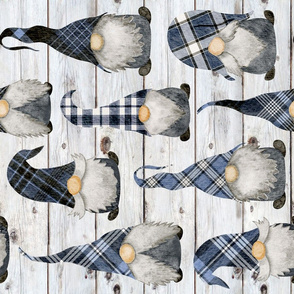 Blue Plaid Gnomes on Shiplap Rotated - large scale