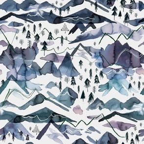 Mountains landscape Watercolor Blue