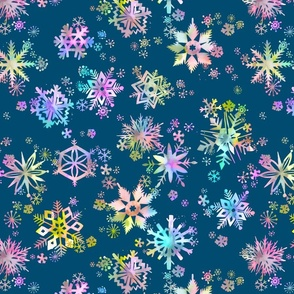 Winter Snowflakes Multicolored Blue
