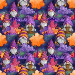 MEDIUM HALLOWEEN GNOMES IN THE FOREST INDIGO BLUE FLWRHT
