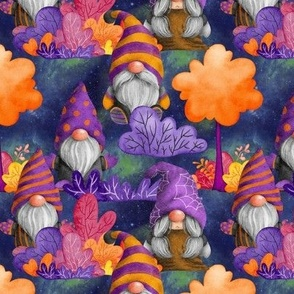 small HALLOWEEN GNOMES IN THE FOREST INDIGO BLUE FLWRHT