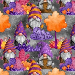 SMALL HALLOWEEN GNOMES IN THE FOREST GREY FLWRHT