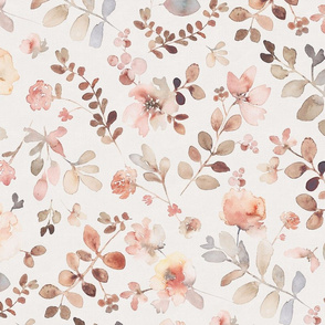 Sunday floral - light large / orange brown watercolor