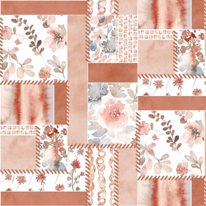 New boho - Floral watercolor patchwork copper brown
