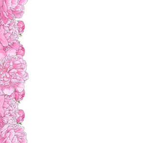 """Large Pink Flowers 4"""" Border for 42"""" Wide Fabric"""